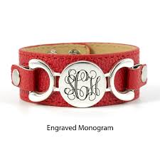 picture of interchangeable personalized leather cuff bracelet