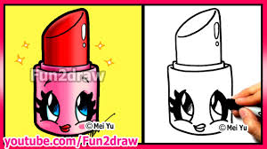 how to draw cartoons cute lipstick makeup cosmetics tutorial fun2draw art