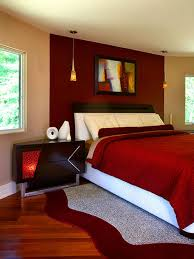 red accent wall in bedroom photo - 1