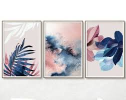 navy blue and pink wall art