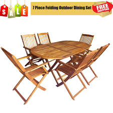 7 piece folding outdoor dining set acacia wood garden patio table and chairs uk