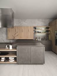 Kitchen Designs: Blue Grey And Wooden Kitchen Small Space - Grey