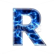 Blue Letters 3d Capital Letter With Blue Lightning Texture On White Background R