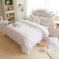 korea style beige white bedding sets 4 9pcs fleece jacquard winter full queen king duvet cover bedskirt pillowcases girl bed set