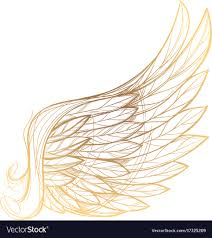 Gold And White Background Design Golden Wing Isolated On White Background Design