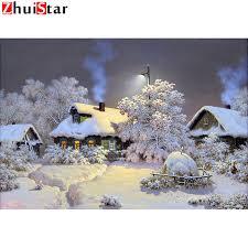 Needlework <b>Diamond</b> Painting Beautiful Snow <b>Winter</b> Landscape ...