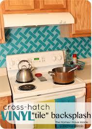 cross hatch vinyl tile backsplash