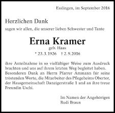 Traueranzeigen von Erna Kramer   zeit-des-gedenkens.de
