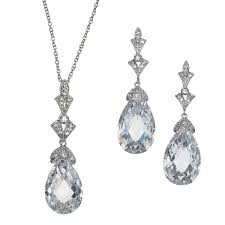 lydia art deco swarovski crystal necklace and earring set