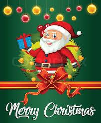 Santa On Christmas Card Template Stock Vector Colourbox