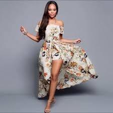 Click To Buy Summer Women Off Shoulder Maxi Dress 2016 Beige