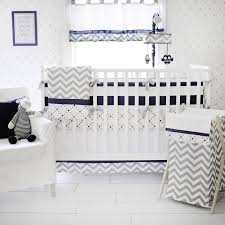 gray and navy crib bedding out of the blue baby nursery collection