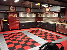 dan s black and red checd tile garage floor