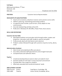 Example Resume For Customer Service Customer Service Resume Example 8 Samples In Word Pdf