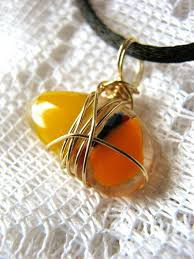 wire wrapped recycled glass pendant. Wire Wrapped Fused Glass Candy Corn Pendant #Halloween #Jewelry #fused Recycled C