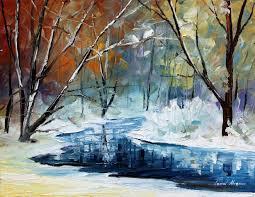 lost in winter palette knife landscape oil by afremovartstudio