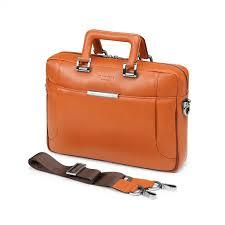 italian saffiano leather laptop briefcase orange zoom