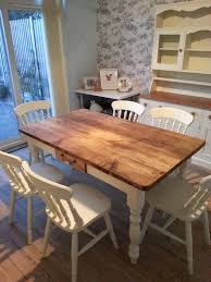 Pine Farmhouse Kitchen Table Shabby Chic Tables Made From Reclaimed Pine Or Oak Wax Country