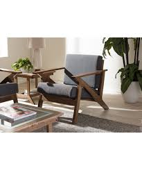 Modern Lounge Chairs For Living Room Cayla Mid Century Modern Grey Fabric And Walnut Brown Wood Living
