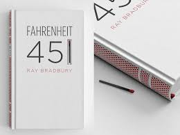a unique fahrenheit 451 book cover with a match and striking paper along the spine
