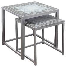 Nesting Table, 2 Piece Set, Gray, Blue Tile Top, Silver Transitional
