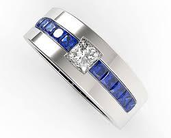 mens blue wedding band. princess cut blue sapphire and diamond wedding band for mens l