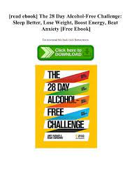 the 28 day alcohol free challenge sleep