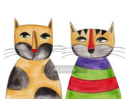 cats ink and watercolors on paper wall decal