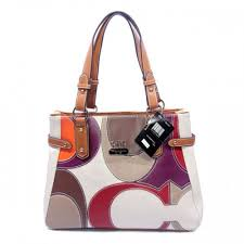 Coach Big Logo Large Tan White Totes 043