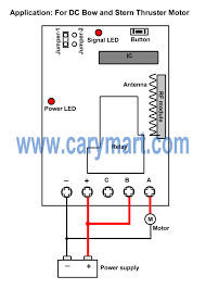 high capacity 24v remote controller for bow and stern thruster in transmitter is triggered by connection of two extended wires when two wires are connected rf signal will be sent out it works 1 channel high power