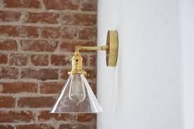 industrial modern lighting. Industrial Modern Lighting. Raw Brass Gold Single Light Wall Sconce Clear Cone Glass Shade Vanity Lighting T