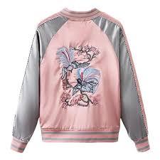 Floral Birds Embroidery <b>Souvenir</b> Bomber Jacket Women Baseball ...