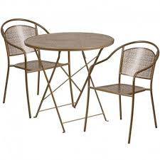 morris round 30 gold steel folding table set w 2 round back chairs