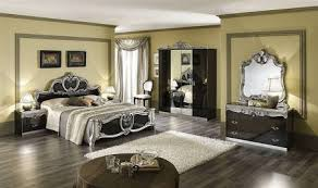 Barocco Bedroom Black And Gold Finish, Baroque Bedroom In Silver And Black