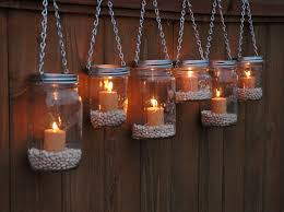 Mason Jar Lanterns Hanging Tea Light Luminaries - Set of 6 - Silver Chain -  Wide