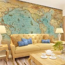 large murals retro world map charts