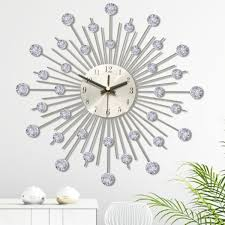 One of the most conventional ideas for wall decoration is to use pictures and photos. Modern Wall Clock Silver Metal Crystal Effect Sunburst Wallclock Clear Diamante Crystal Beaded Jeweled Home Deco Walmart Com Walmart Com