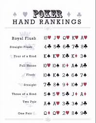 Printable Poker Hands Chart Pin By Christye Myers On Party Planning Poker Hands