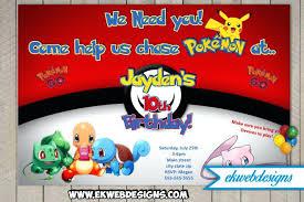 Pokemon Birthday Party Invitations Go Birthday Party Invitation Lets