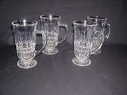 vintage set 4 etched clear glass coffee mugs pedestal footed cups personalized