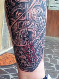 Biomechanical Tattoo On Right Leg For Men Tattooshuntcom
