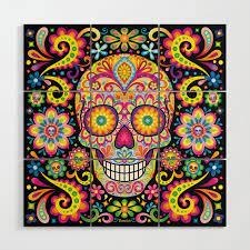 sugar skull art spark wood wall art