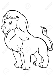 Coloring Pages Animals Cute Lion Stands And Smiles Royalty Free