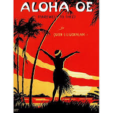Cover To Sheet Music With A Hawaiian Theme The Song Aloha Oe By