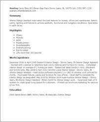 Resume Templates: Interior Design Assistant