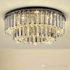 dimmable modern led round crystal chandeliers high end clear k9 crystals surface mounted chandelier for living room bedroom hotel room led ceiling crystal