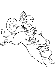 Small Picture Cowboy Riding Bull in Rodeo coloring page Free Printable