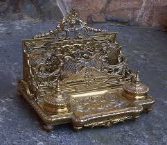 victorian brass inkwell and letter holder desk stand c1880 love this on my desk