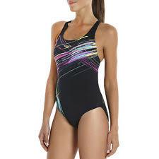 Speedo Womens Vibedive Placement Powerback Swimsuit UK 12 Black Costume