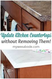 update your countertops without replacing them two photos of countertops marble and granite look with title